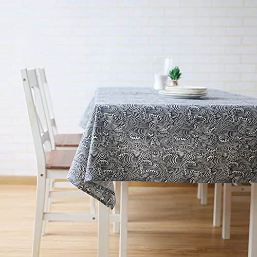 """Japanese Style Tablecloth Square - Cotton Linen Blend Navy Blue Cloth Art Home Decor Sea Waves (55""""x 55"""")"""
