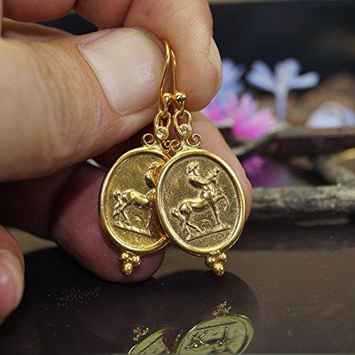 Omer Centaur Coin Earrings w/Onyx Turkish 925 k Sterling Silver 24k Gold (Sterling Vermeil Earrings)