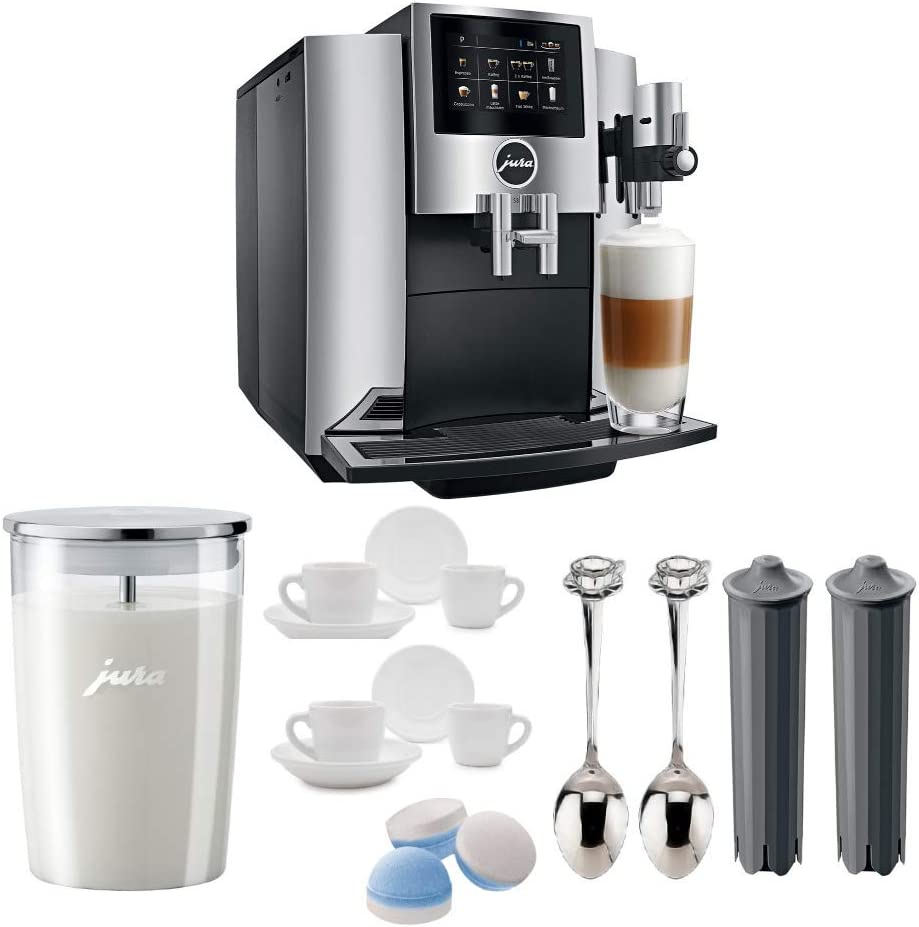 B07S4QFTTY JURA S8 Automatic Coffee Machine with PEP, Chrome Includes Milk Container, 2 Smart Filter Cartridges, Cleaning Tablets, 2 Demi Spoons and 2 Espresso Cups Bundle 51fltiNvVtL.SL1000_