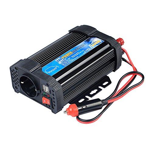 InnooTech 300W Auto Wechselrichter 12V auf 240V mit 2 USB Anschlüsse , Steckdose und Zigarettenanzünder Stecker für Handyphone