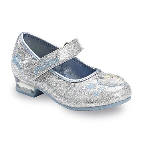 Disney Girl's Frozen Silver Sparkle Mary Jane Dress Shoe