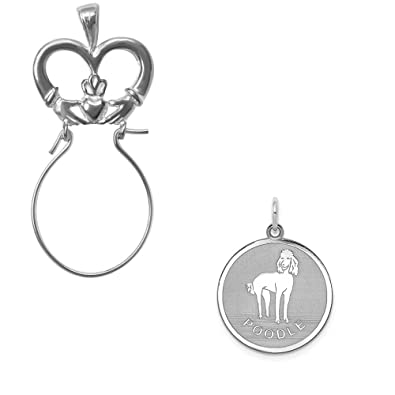 Mireval Sterling Silver Anti-Tarnish Treated Poodle Disc Charm on an Optional Charm Holder