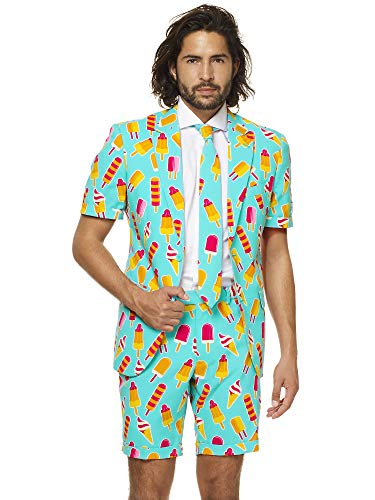 - OppoSuits Men's Summer Suit - Cool Cones - Includes Shorts, Short-Sleeved Jacket & Tie