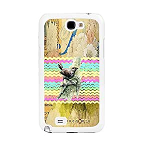 Colorful Chevron & Floral Pattern Cell Phone Skin Design for Samsung Galaxy Note 2 N7100 Hard Plastic Shell Personalized Case (vintage flower whites1172)