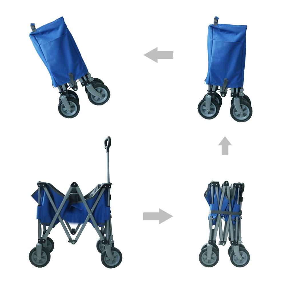 Eurmax Sports Collapsible Sturdy Steel Frame Garden Carts on Wheels Utility Beach Wagon Cart,Bonus 8x8Ft Picnics Mat RED /& Gray