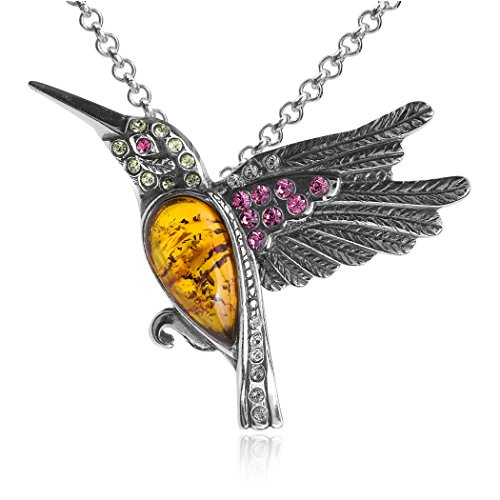 Amber Sterling Silver Crystal Humming Bird Slider Pendant Necklace Chain 18