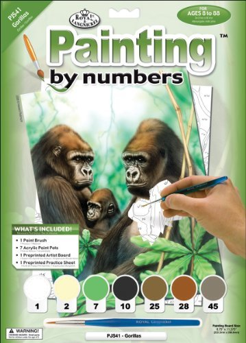 Royal & Langnickel Painting by Numbers Junior Small Art Activity Kit, Gorillas by ROYAL BRUSH