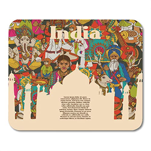 Emvency Mouse Pads India Idian Spiritual and Cultural Symbols of Religion Folk Mouse Pad for notebooks, Desktop Computers mats 9.5