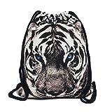 Artone Tiger Canvas Drawstring Bag Travel Daypack Sports Portable Backpack Black