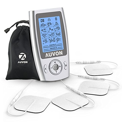 AUVON Dual Channel TENS Unit (FDA 510K Cleared), 12 Modes Rechargeable TENS Machine Muscle Stimulator with Around 30,000 Selectable Choices and TENS Unit Pads (2