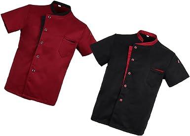 2x Chaqueta de Chef Unisex Camisa Manga Corta Hotel Uniforme Cocina Negro Rojo M - Negro, rojo, M: Amazon.es: Ropa y accesorios