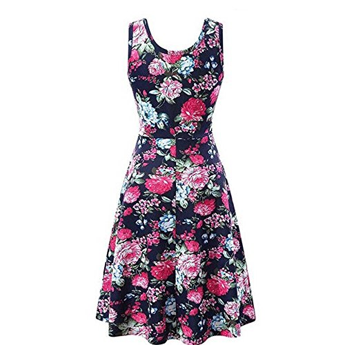 HHei_K Womens Summer Casual Boho Floral Print Sleeveless O-Neck Fit and Flare Mini Dress Tank Dress Hot Pink