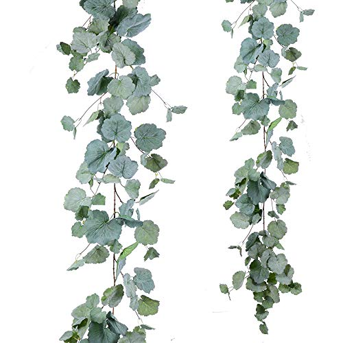Artiflr Artificial Hanging Leaves Vines, 5.7 Ft Fake Begonia Leaves Twigs Silk Plant Leaves Garland String in Green for Indoor/Outdoor Wedding Decor Party Supplies Greenery Crowns Wreath