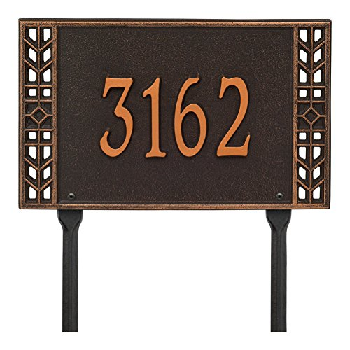 Whitehall Personalized Arts and Crafts House Sign - Custom Indoor/Outdoor Address Plaque - Lawn