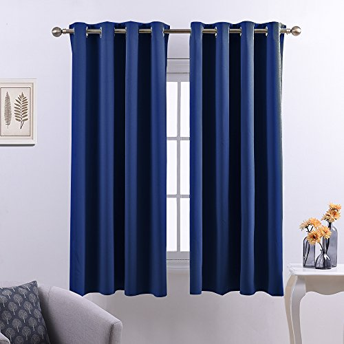 Nicetown Thermal Insulated Window Treatment Grommet Top Blackout Curtains / Drapes / Panels for Kid's Room (1 Pair,52 x 63 Inch in Navy Blue)