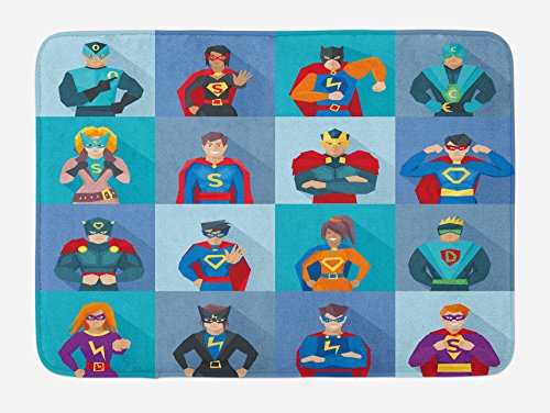 Lunarable Superhero Bath Mat, Characters Supernatural Powers in Special Costumes Comic Strip Humor Print, Plush Bathroom Decor Mat Non Slip Backing, 29.5 W X 17.5 W Inches, Multicolor ()