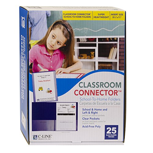 C-Line Classroom Connector School-to-Home Folders, Blue, 25 per Box (32005) Deluxe Vinyl Project Folders