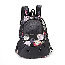 Pet Carrier Backpack Head out Front Tote Pet Cat Puppy Dog Backpack Mesh Carrier Bag Travel Bag For Small Pet Weight Up to 8.8lbs (flower)