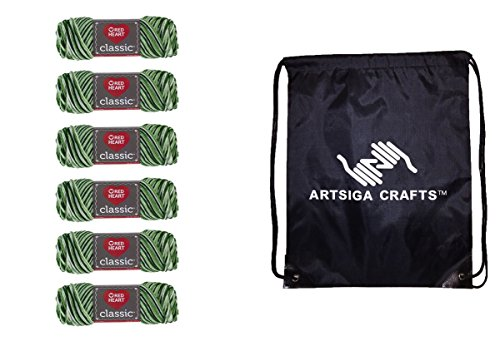 Red Heart Classic Yarn (6-Pack) Shaded Greens E267-0957 Bundle with 1 Artsiga Crafts Project (Heart Classic Knitting Yarn)