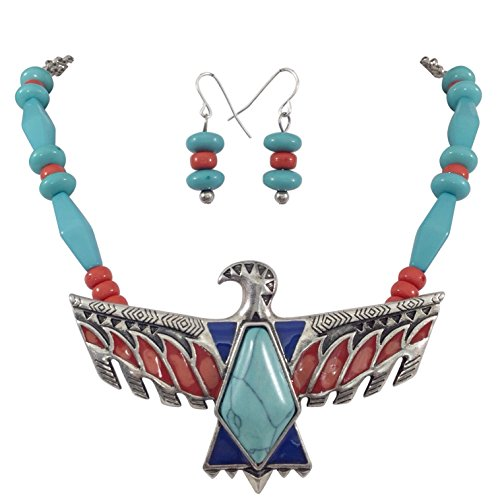 - Tribal Eagle Multi Color Silver Tone Western Southwestern Look Necklace Earring Set (Imitation Turquoise Center)