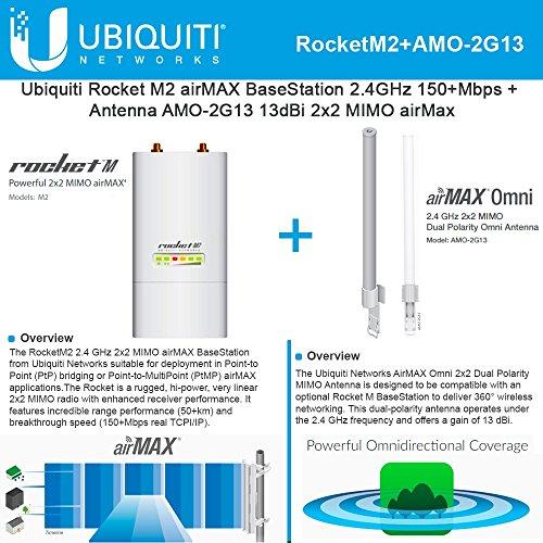Ubiquiti RocketM2 2.4GHz Outdoor + AMO-2G13 13dBi AirMax Antenna Kit by Ubiquiti Networks