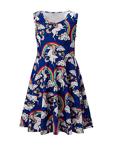 Children Sisters Daughter Unicorn Apparel Leave Autumn Playwear Dresses for Schoolchild 10-12t Common Polyester Weekend (Blue Unicorn, 10-13 T)