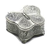 Buorsa Antique Metal Rose Engraving Butterfly Jewelry Box Trinket Jewelry Storage Keepsake Box for Women, Silver