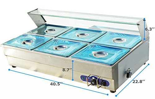 M&N 6-well Commercial Electric Countertop Bain-Marie Buffet Food Warmer Steam Table 110V 60Hz (Countertop Steam Table compare prices)