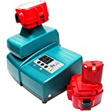 2-Pack - Makita ML123 Battery + Universal Charger for Makita Replacement - For Makita 12V Power Tool Battery and Charger (3300mAh, NIMH)