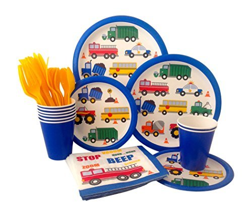 Cars &Trucks Birthday Party Supply Pack! Bundle Includes Paper Plates, Napkins, Cups & Silverware for 8 Guests -