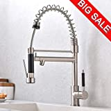 VCCUCINE Modern Commercial High Arch Brushed Nickel Stainless Steel Single Lever Pull Out Sprayer Kitchen Faucet, Two Spout Sprayer Kitchen Sink Faucet