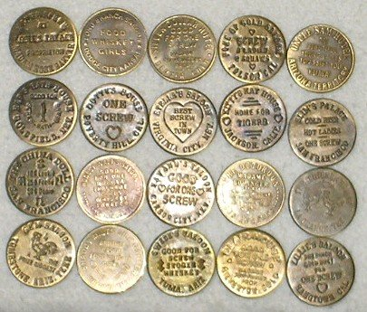 - Set of 20 Reproduction Old West Brothel Tokens