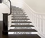 Hogwarts Set of 12 Quotes Harry Potter Inspired Vinyl Wall or Stairs Decals [BLACK] by GMDdecals Dumbledore Sirius Wizard Decor Size 24'' x 2-4'' per quote