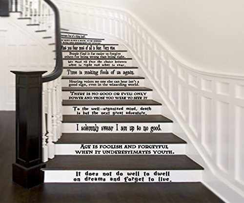Hogwarts Set of 12 Quotes Harry Potter Inspired Vinyl Wall or Stairs Decals [BLACK] by GMDdecals Dumbledore Sirius Wizard Decor Size 24'' x 2-4'' per quote by GMDdecals