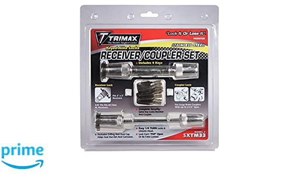Trimax Stainless Steel T3-Receiver and TC3-Coupler Lock-Keyed Alike Set