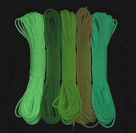 Cuerda de paraca/ídas de Supervivencia port/átil 550 Glow 9 hebras Luminosa Cable de paraca/ídas de 25 pies 50 pies 100 pies Brilla en la Oscuridad