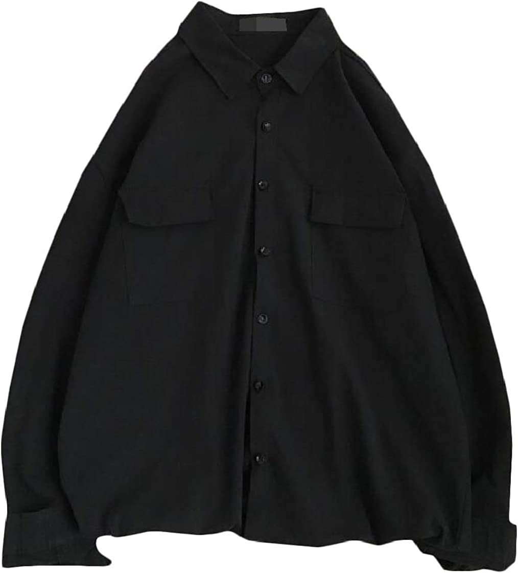 Pandapang Mens Button-Down Office No Iron Solid Long Sleeve Shirts