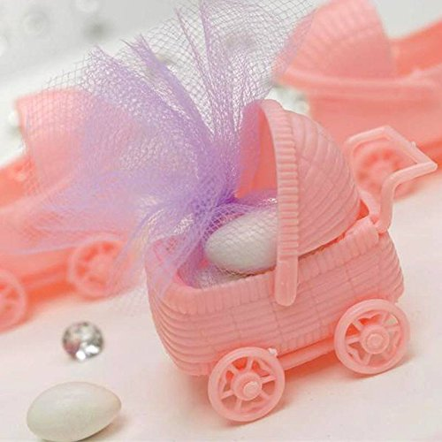BalsaCircle 36 Pink Plastic Carriage Baby Shower Favors Fillers Table Scatters Party Gifts Decorations Supplies