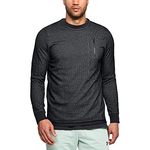 Under Armour Men's Pursuit Block Fleece Crew, Black (001)/Stealth Gray, Medium