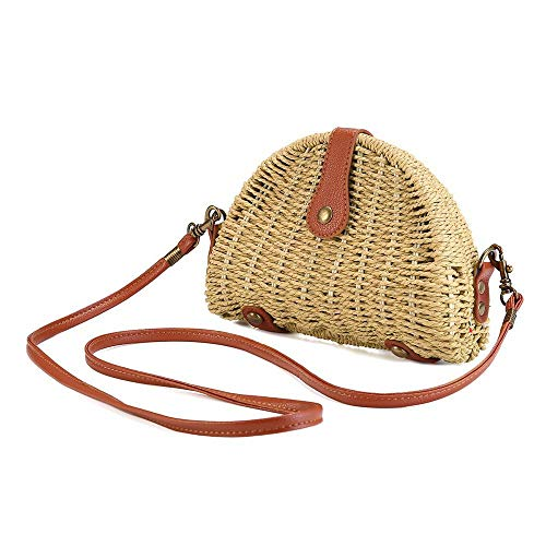 Price comparison product image AOLVO Straw Bags for Women,  Mini Pure Handmade Straw Beach Bag Handwoven Crossbody Woven Straw Handbag Shoulder Bag for Beach Travel and Everyday Use