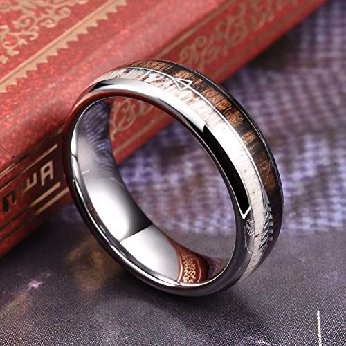 THREE KEYS JEWELRY 6mm Silver Tungsten Wedding Ring with Real Antler Zebra Wood Two Arrows Inlay Dome Hunting Ring Wedding Band Engagement Ring Size 6