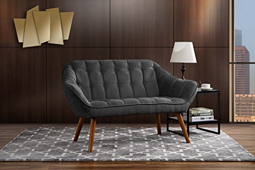 Couch for Living Room, Tufted Linen Fabric Love Seat (Dark Grey) ()