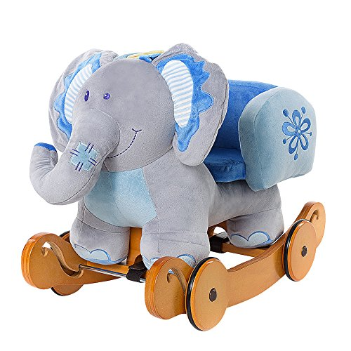 Labebe Child Rocking Horse Plush, Stuffed Animal Rocker Toy, 2 in 1 Blue Elephant Rocker with Wheels for Kid 6-36 Months, Wooden Rocking Horse/Kid Rocking Toy/Baby Rocking Horse/Rocker/Animal Ride on
