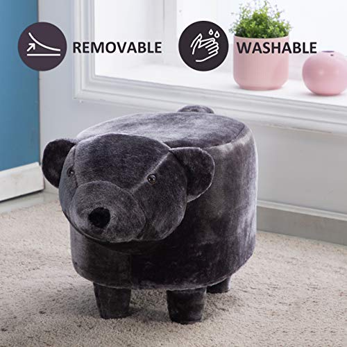 JOYBASE Washable Animal Ottoman, Kids Footrest Stool, Soft Plush Ride on Seat, Gift for Children and Adults (Bear) (Bear Stool)