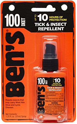 Deet Insect 100 Repellent (Ben's 100% DEET Mosquito, Tick and Insect Repellent, 1.25 Ounce Pump, 3 Count)