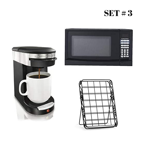 Amazon.com: Hamilton Beach 0.9 cu ft Digital Microwave Bundle with Personal One Cup Pod Brewer and 35-Pod Coffee Caddy, Dorm Essentials (Black): Kitchen & ...