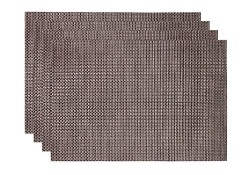 Ritz TechStyle Reversible Woven Basketweave Placemats, 4 by 4-Inch, Brown/Black/Silver, Set of 4 Woven Basketweave