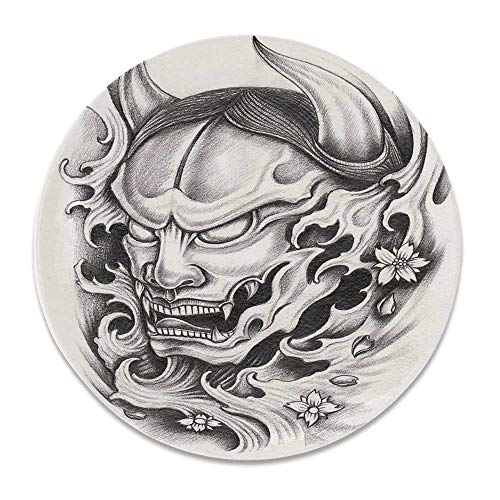 YOLIYANA Kabuki Mask Decoration Round Ceramic Decorative Plate,Hand Drawn Malevolent Face Vicious Evil Monster with Blossoms Image Decorative for Table Or Wall,7 inch ()