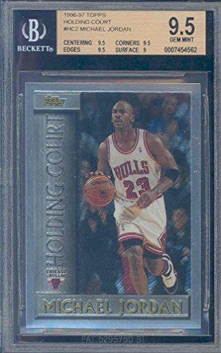 1996 97 Topps Holding Court  Hc2 Michael Jordan Bgs 9 5 Graded Card