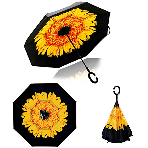 Double Layer Wind UV Proof Reverse Folding Inverted Umbrella Travel Umbrella with C Shape Handle and Carrying Bag-Sunflower